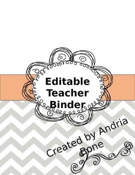 Editable Chevron Teacher Binder/Notebook **Freebie**