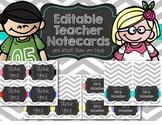 Teacher Note Cards - EDITABLE, with BONUS Thank you Cards