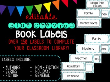 Large Editable Chevron Book Labels (Blue)