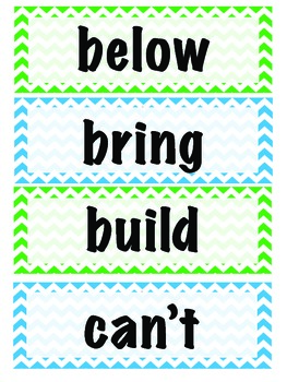 Chevron Word Wall - Blue and Green