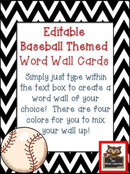 Editable Chevron and Baseball Themed Rectangular Word Wall Cards
