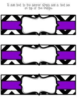 Editable Chevron and Purple Basket Labels