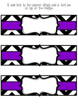 Editable Chevron and Purple Basket Labels