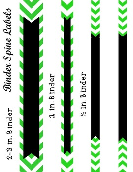 Editable Green Chevron and Quatrefoil Binder Cover and Spine Labels