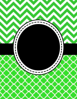 Editable Green Chevron and Quatrefoil Binder Cover and Spi