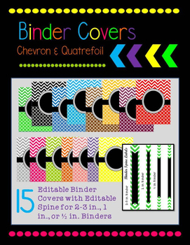 Editable Chevron and Quatrefoil Binder Covers and Spine Labels