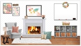 Editable Chic Virtual Classroom for Bitmoji, Canvas, Googl