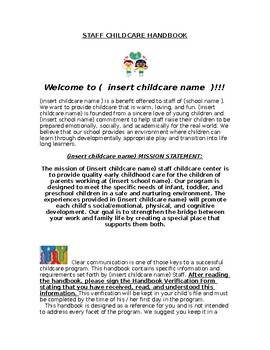 Editable Childcare Parent Handbook
