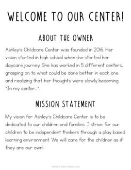Editable Childcare Parent Handbook by Ashley's Goodies | TpT