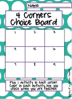 Editable Choice Boards