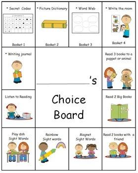 Editable Choice Boards