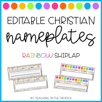 Editable Christian Nameplates (Rainbow Shiplap)