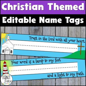 Editable Christian Student Desk Name Plates