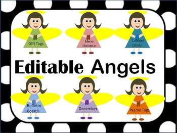 Editable Christmas Angel Labels