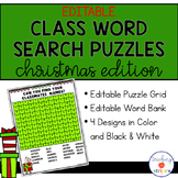 Editable Christmas Class Word Search Puzzle Templates
