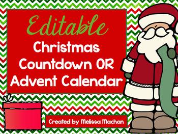 Editable Christmas Countdown OR Advent Calendar