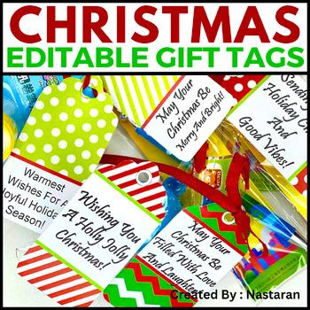 Editable Christmas Gift Tags  (Medium Size)