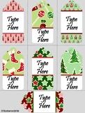 Editable Glitter Christmas Gift Tags  (Medium Size)