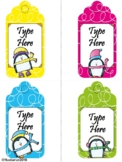 Editable Christmas Gift Tags With Penguins (Large Size)
