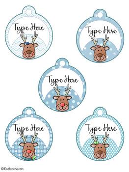 Editable Christmas Gift Tags With Reindeer