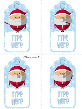 Editable Christmas Gift Tags With Santa (Large Size)