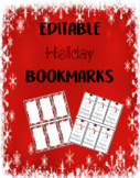 Editable Christmas Holiday Bookmarks