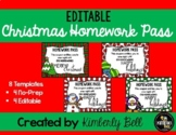 1st 2nd 3rd 4th 5th Grade Christmas Holiday Homework Pass