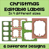 Christmas Editable Labels and  Gift Tags (4 sizes and 6 different designs)