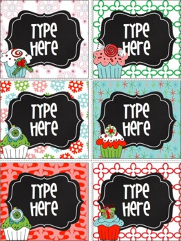 Editable Labels-Chalkboard Christmas Labels {Cupcakes}