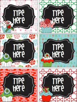 Editable Chalkboard Christmas Labels {Cupcakes}