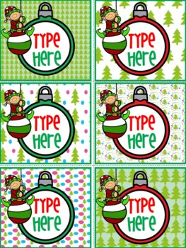 Editable Christmas Labels With Elf