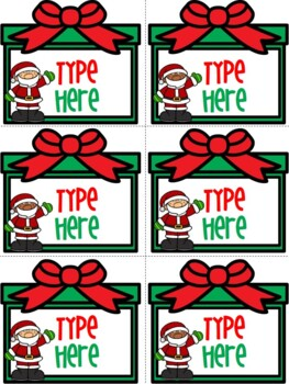 Editable Christmas Labels.Editable Labels Christmas Labels With Santa