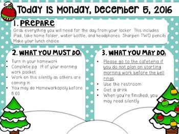 Editable Christmas Morning Work/Message Template