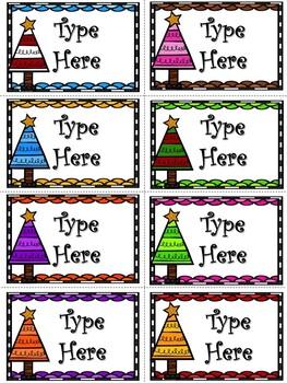 Editable Christmas Tree Labels
