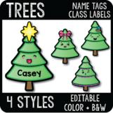 Editable Christmas Tree Name Tags, Evergreen Tree Cubby Tag, Digital & Printable