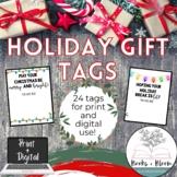 Editable Christmas and Holiday Tags: Digital and Printable Gifts for Students