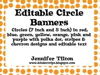 Editable Circle Banners in 2 Sizes and Variety of Colors and Patterns