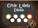 Editable Circle Labels: Harry Potter Inspired