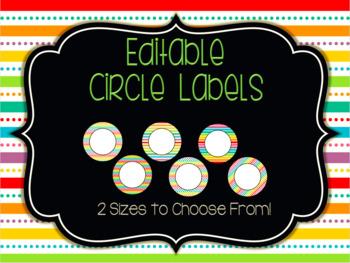 Editable Circle Labels: Rainbow Pop
