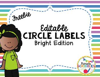 Editable Circle Name Plates, Tags, and Labels