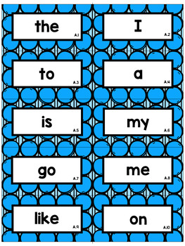 Editable Circle Sight Word Flash Cards: Teachers College High Frequency Words