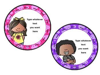Editable Circular Classroom Labels