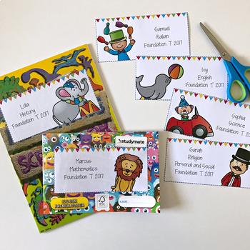 Editable Circus Book Labels