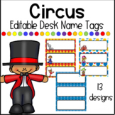 Editable Circus Themed Desk Name Plates / Desk Toppers / N