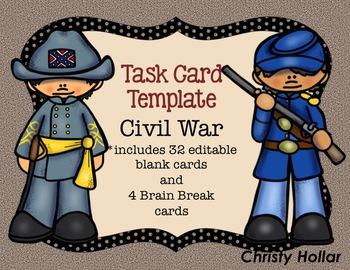 Editable Civil War Task Card Templates PPT
