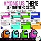 Editable Class Agenda & Morning Work Slides - Among Us Theme