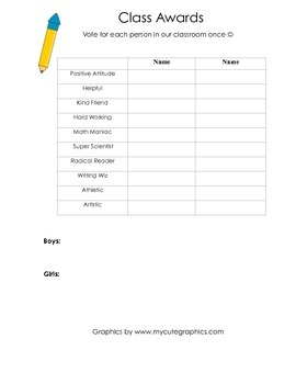 Class Award Nomination Sheet
