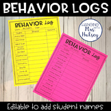 Editable Class Behavior Logs (Freebie)