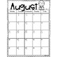 Editable Monthly Class Calendar: Aug. 2018-July 2019 With Free Updates
