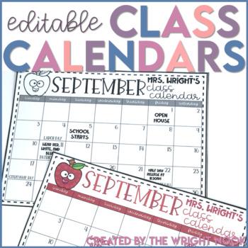 Editable Class Calendar Templates